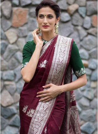 Glamourous Wedding And Festive Wine Silk Weave Saree