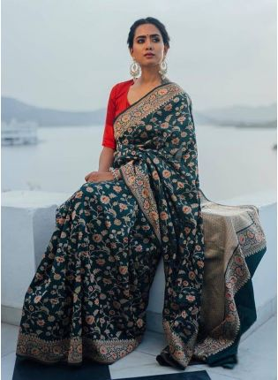 Urbane Green Banarasi Saree With Silk Weave Floral Details