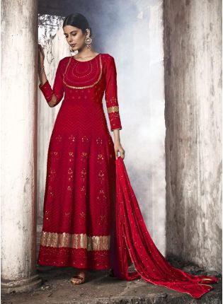 Fabulous Red Georgette Anarkali Suit