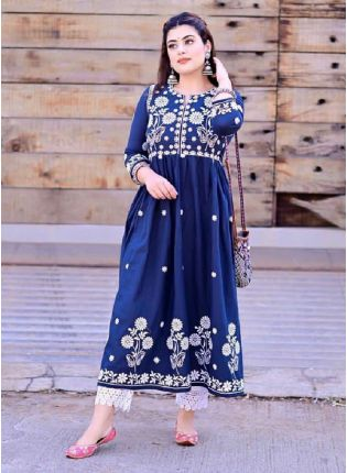 Navy Blue Color Pure Silk Base With Thread Work Base New Style Palazzo Suit