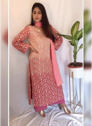 Adorable Peach Pink Georgette Zari And Resham Work Palazzo Suit