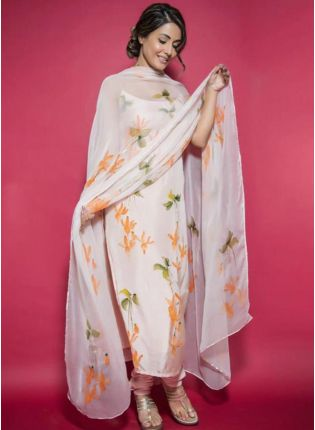 Tempting Dove White Taffeta Silk Base Designer Salwar Suit
