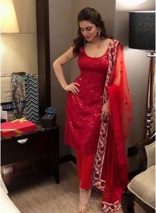 Vermillion Georgette And Sequins Work Straight Suit