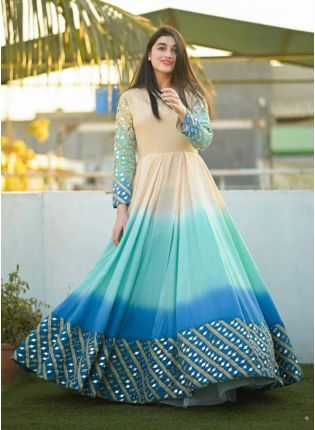 Decent Blue Color Designer Gown With Foil Mirror Work