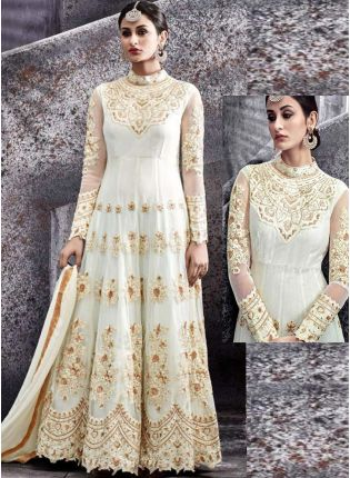 White Resham Handwork Georgette Designer Party Wear Gown