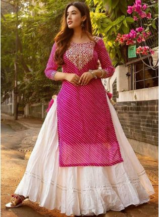Charming Pink And White Festive Wear Rayon Base Trendy Lehenga Suit