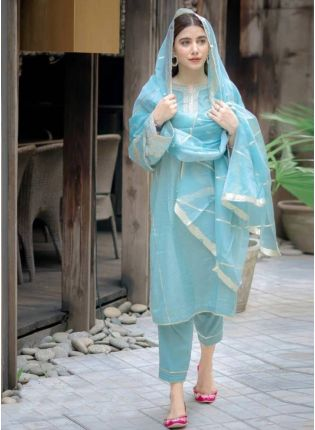 Mesmerizing Sky Blue Cotton Base Resham Work Pant Style Suit