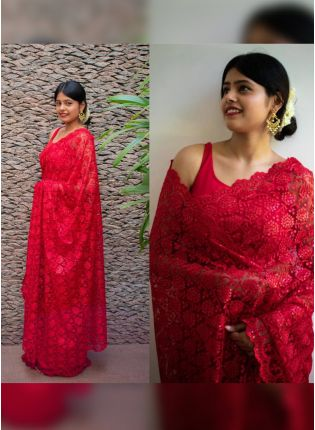 Admirable Strawberry Red Soft Net Base Sequin Resham Work Saree