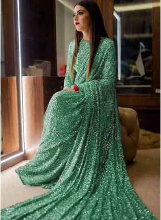 Green Sequin Georgette Embroidered Party Wear Saree