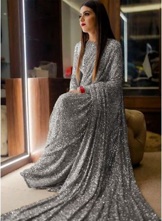 Grey Sequins Sparkling Georgette Embroidered Saree