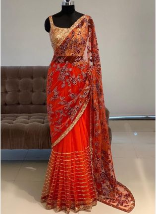 Red Sequins Resham Soft Net Embroidered Saree
