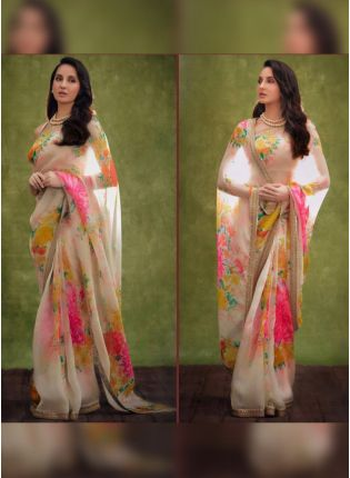 White Digital Print Organza Printed Party Wear Saree