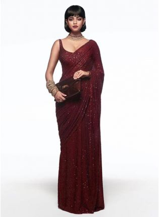 Gorgeous Maroon Georgette Base Sequin Work Party Wear Saree