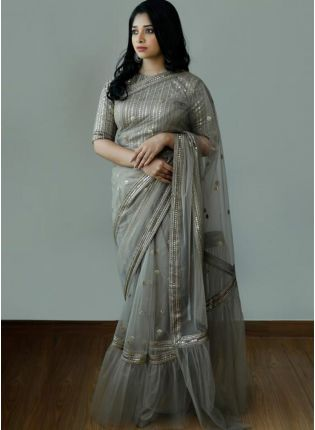 Wonderful Pigeon Grey Soft Net Base Zari And Sequin Work Saree