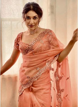 Gorgeous Peach Organza Mirror And Resham Work Saree