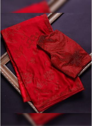 Glitzy Red Stone Work Base Saree