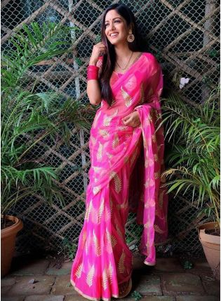 Charming Pink Color Georgette Base Saree With Silk Blouse