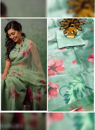 Wonderful And Adorable Sea Green Organza Digital Print Saree