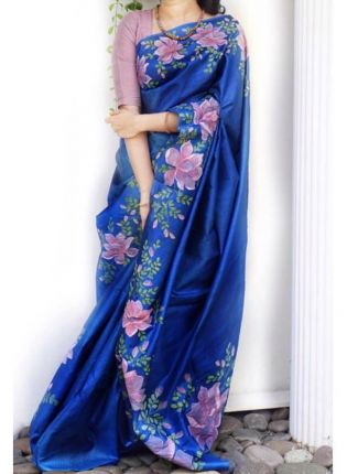 Adorable Royal Blue Digital Print Casual Wear Organza Saree