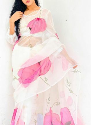Dazzling Snow White Casual Wear Organza Digital Print Saree