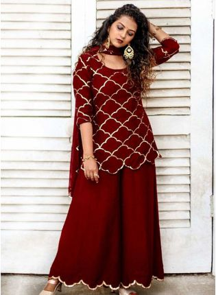 Charming Look Maroon Color Georgette Base Designer Look Palazzo Suit