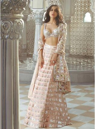 Bollywood Style Peach Color Georgetta Base Sequins Work Flared Lehenga Choli