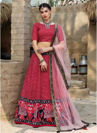 Beautiful Red and Peach Color Art Silk Base Printed Lehenga Choli