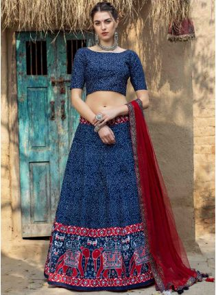 Glamorous Navy Blue And Maroon Color Art Silk Base Printed Lehenga Choli