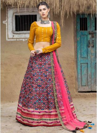 Trendy Pink Color Art Silk Base Printed Flared Lehenga Choli