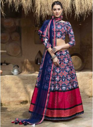 Decent Navy Blue Color Art Silk Base Printed Lehenga Choli