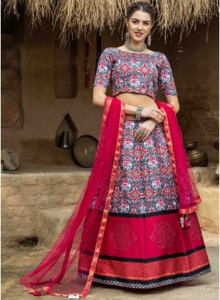 Eye-Captivating Grey And Pink Color Art Silk Base Printed Lehenga Choli