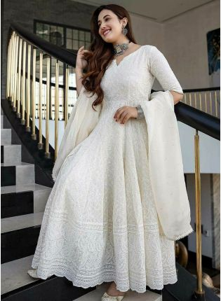 Striking White Color Anarkali Suit