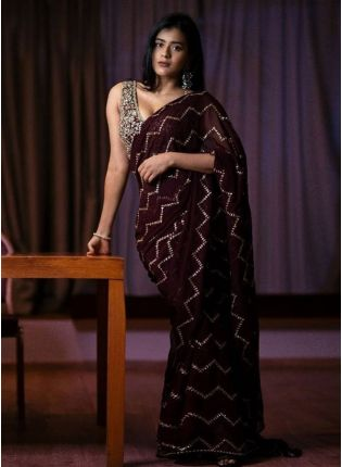 Plum Sequinsed Georgette Partwear Saree