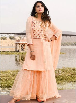 Dainty Peach Georgette Sharara Kameez Suit