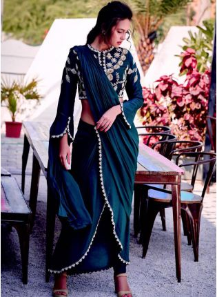 Designer Look Turquoise Color Partywear Silk Base Saree With Same Blouse