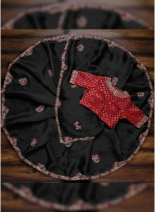 Fantastic Black Saree with Red Blouse