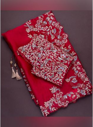 Fabulous Red Color Embroidery Work Silk Base Heavy Look Saree