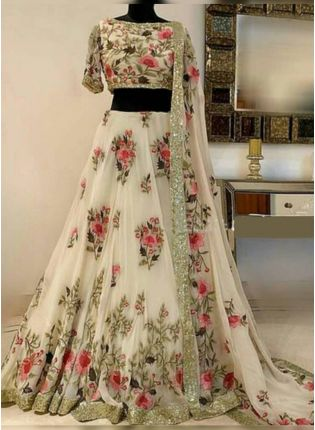 Incredible Pearl Off-White Silk Base Sequin Work Flared Lehenga Choli