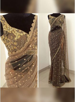 Light Brown Color Soft Net Base Wedding Wear Saree