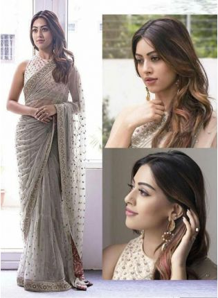 Grey Color Designer Party Wear Soft Net Base Saree