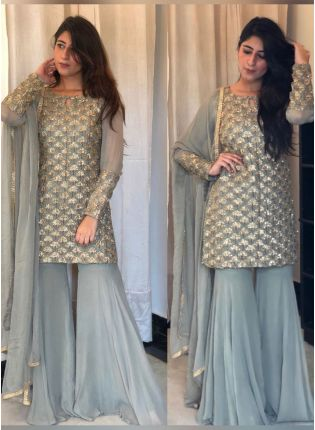 Splendid Cloudy Grey Georgette Festive Wear Designer Sharara Suit