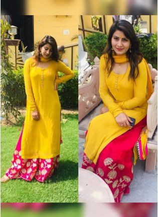 Exceptional Turmeric Yellow Festive Wear Georgette Base Palazzo Suit