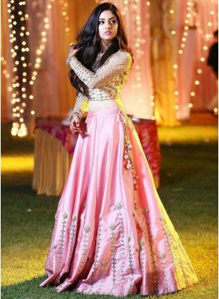 Pink Color Party Wear Designer Satin Base Lehenga Choli