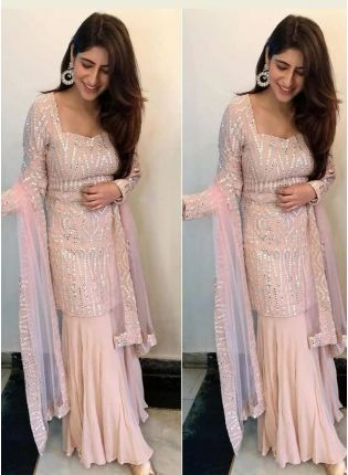 Mesmerizing Peach Pink Georgette Festive Wear Designer Sharara Suit