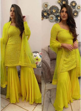 Gorgeous Yellow Color Georgette Base  A-Line Palazzo Suit