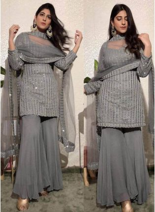 Gorgeous Grey Color Georgette Base  A-Line Palazzo Suit