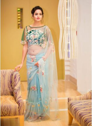 Sky Blue Color Party Wear Ruffle Border With Sequins Work Saree