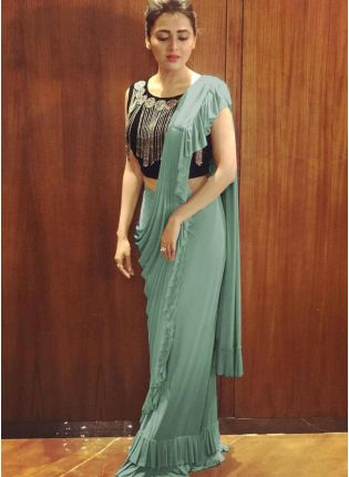 Adorable Teal Green Georgette Base Party Wear Ruffled Saree