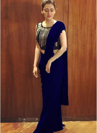 Fascinating Royal Blue Colored Georgette Base Party Wear Ruffle Saree