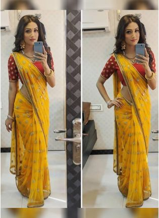 Haldi Yellow Color Net With Sequins Embroidery Work Party Wear Saree